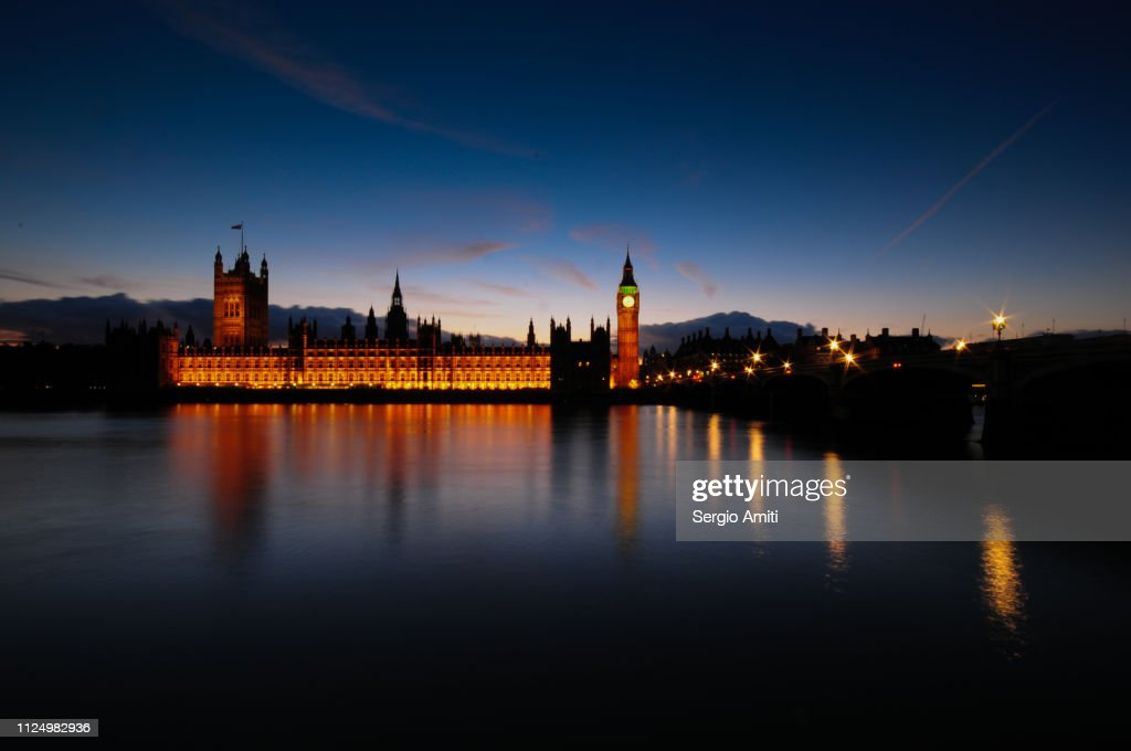 The Palace of Westminster at dusk : Stock Photo