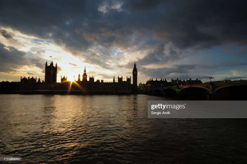 The Palace of Westminster at sunset : Stock Photo
