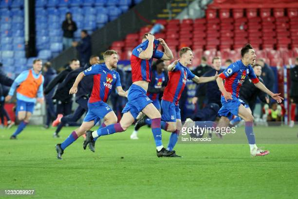 The Palace team celebrate after winning a penalty shoot out during the Premier League 2 play off game between Crystal Palace U23 and Sunderland U23...