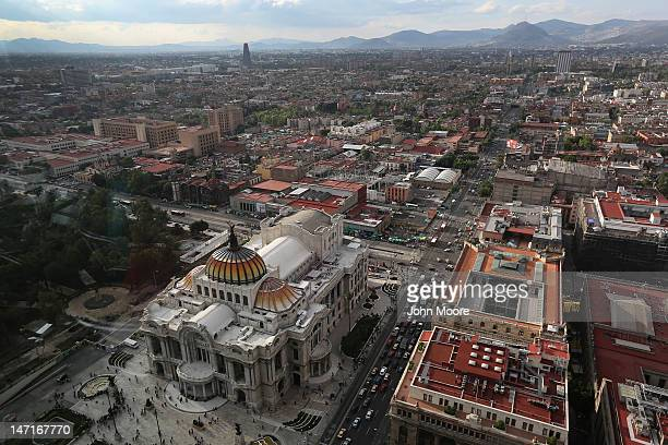 The Palacio de Bellas Artes arts and cultural center is seen from the Latino Tower on June 26 2012 in Mexico City Mexico Mexicans go to the polls to...