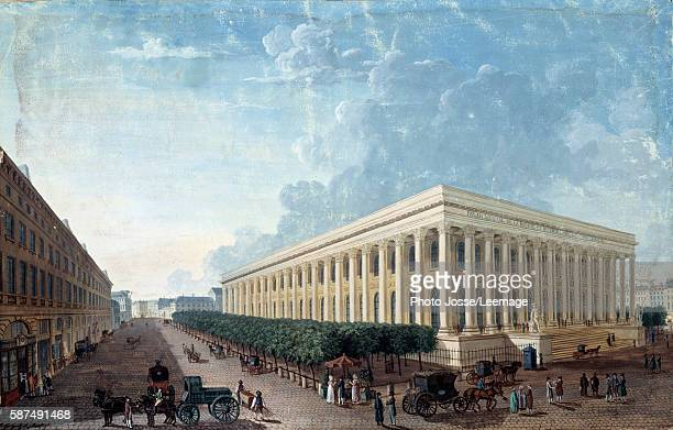 The Palais de la Bourse and Place de la Bourse in Paris Painting by Henri CourvoisierVoisin circa 1800 Carnavalet Museum Paris