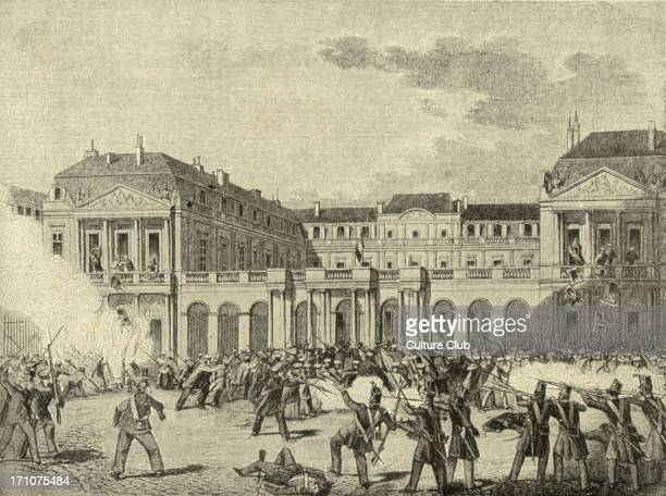 The Palais Royal in Paris being looted during the February 1848 Revolution 24 February 1848 Woodcut from the German newspaper Leipziger Illustrierte...