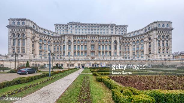 The Palatul Parlamentului is seen from its garden on December 9 2018 in Bucharest Romania The Palace of the Parliament is the second largest...