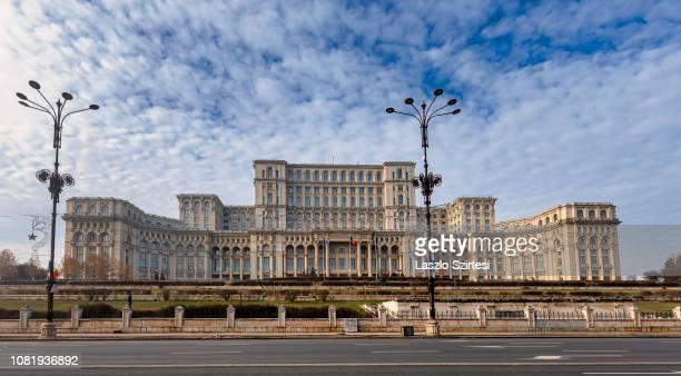 The Palatul Parlamentului is seen from Piata Constitutiei on December 8, 2018 in Bucharest, Romania. The Palace of the Parliament is the second...