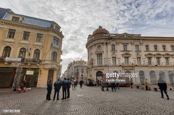 The Palatul Pinacotecii and the Banca Naional a României are seen at Strada Lipscani on December 8, 2018 in Bucharest, Romania. Many beautiful...