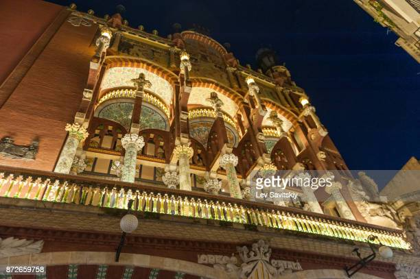 The Palau de la Musica Catalana in evening. Barcelona, Catalonia