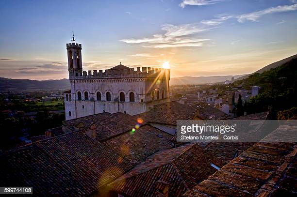 The Palazzo dei Consoli at sunset on September 2 2016 in Gubbio Italy