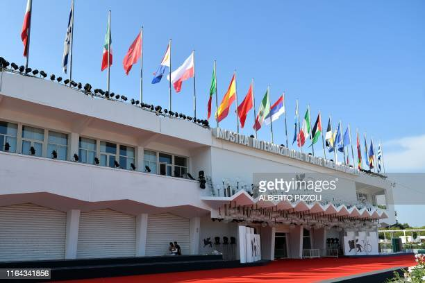 The Palazzo del Cinema is pictured on August 27 2019 on the eve of the opening of the 76th Venice Film Festival at Venice Lido