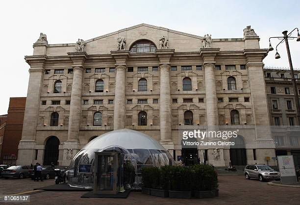 The Palazzo Mezzanotte stands at the location of the Economy and the Open Society International Forum 'Goodbye Globalization' May 12 2008 in Milan...