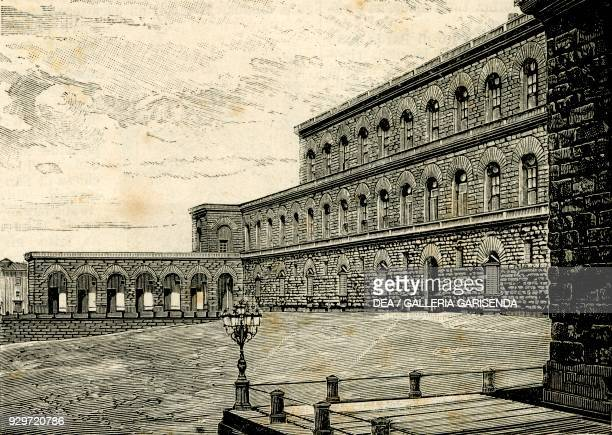 The Palazzo Pitti, Florence, Tuscany, Italy, woodcut from Le cento citta d'Italia , illustrated monthly supplement of Il Secolo, Milan, 1887.