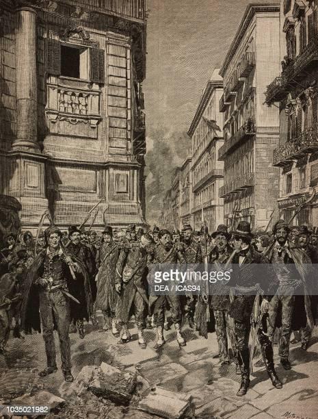 The Palermo Revolution of January 12 Italy from History of Italian Risorgimento by Francesco Bertolini engraving by Francesco Giovanni Cantagalli...