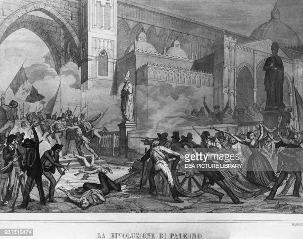 The Palermo revolution on January 12 cannon directed at the royal troops near the cathedral engraving by Innocente Migliavacca Italian unification...