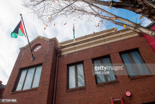 The Palestine Liberation Organization Office is seen in Washington DC on November 21 2017 Palestinian officials announced November21 2017 they had...