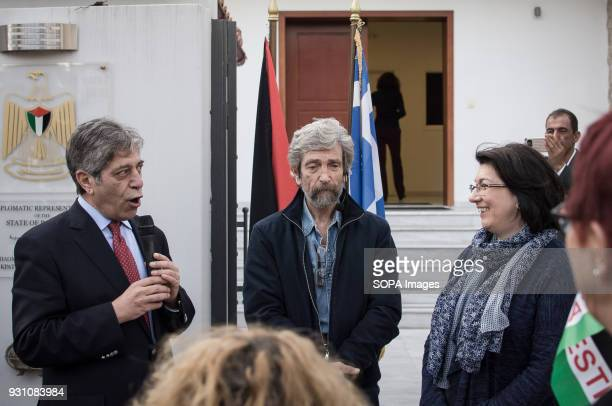 The Palestinian Ambassador Marwan Emile Toubassi seen giving a speech in front of the Palestinian embassy in Athens during a protest to demand the...