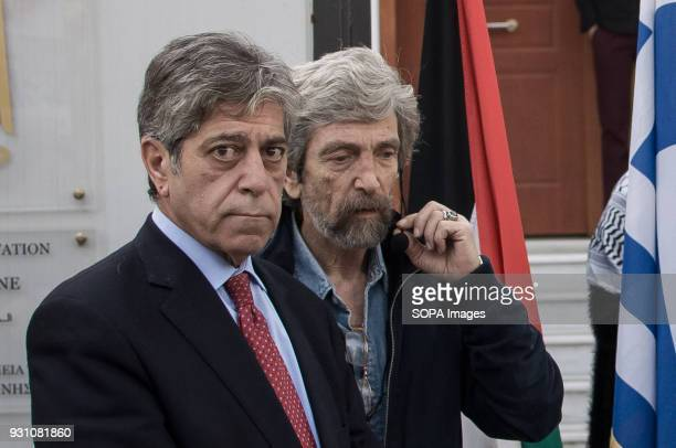 The Palestinian Ambassador Marwan Emile Toubassi seen in front of the Palestinian embassy in Athens during a protest to demand the release of a...