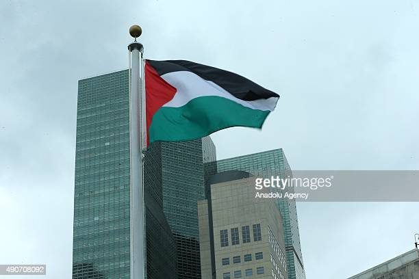 The Palestinian flag flies for the first time at the United Nations headquarters after a flagraising ceremony in the Rose Garden on September 30 2015...