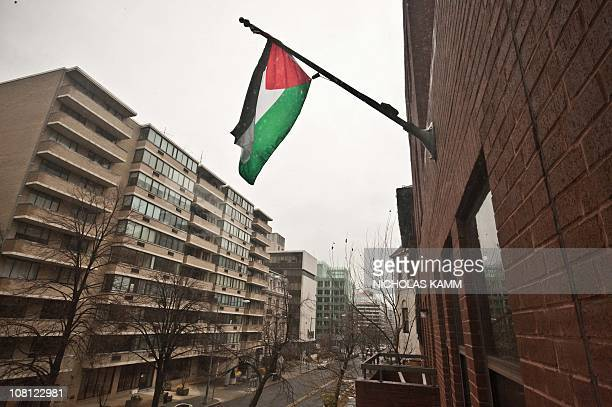 The Palestinian flag flies from the building housing the General Delegation of the Palestine Liberation Organization in Washington on January 18 2011...