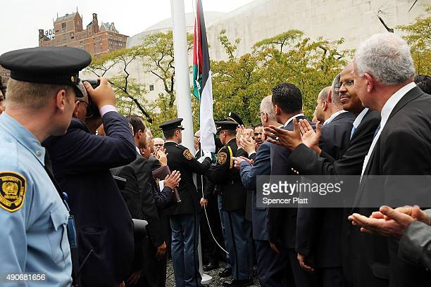 The Palestinian flag is raised for the first time at the United Nations headquarters on September 30 2015 in New York City Following remarks by...