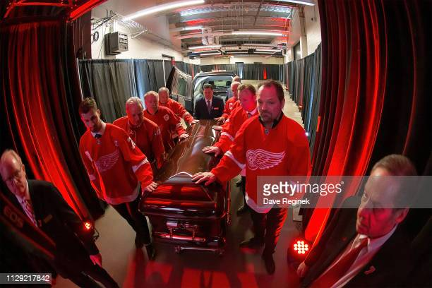 The Pall Bearers from L to R Dylan Larkin of the Detroit Red Wings Terry Zangkas Al Sobotka Jeff Lindsay Lew LaPaugh Former Red Wings Eddie Mio and...