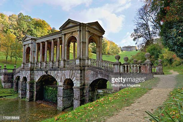 The Palladian Bridge in Prior Park Landscape Garden in Somerset taken on November 15 2012 The garden was famously designed by Alexander Pope in the...