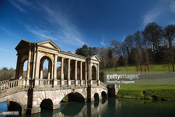 The Palladian Bridge in Prior Park Landscape Garden in Somerset taken on March 10 2015 The garden was famously designed by Alexander Pope in the 18th...