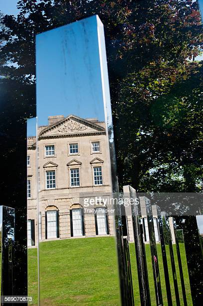 The Palladian style shapes in the facade of the Grade I Listed Royal Fort House built in 1758 are reflected here in part of the columnar public art...