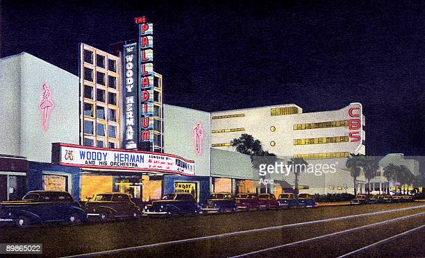 The Palladium and Columbia square in Hollywood postcard 50's