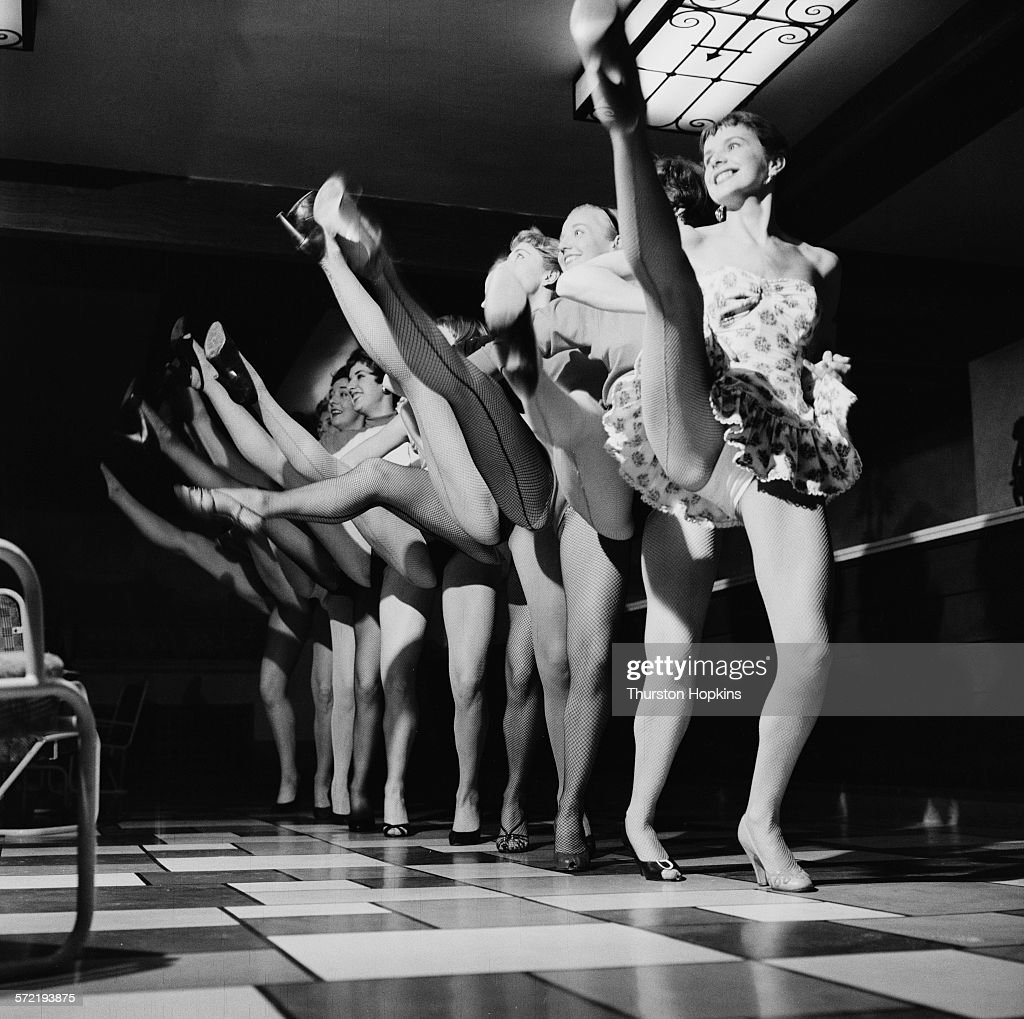 The Palladium Girls dance troupe performing, September 1955. The troupe has been put together to perform on the ATV variety show 'Sunday Night at the Palladium'. From a Picture Post magazine preview of the first week of programming on Independent Television (ITV). The ITV service is due to open in the London area, on 22nd September 1955, with the opening night jointly presented by the regional franchise holders, Associated-Rediffusion and Associated TeleVision, (ATV). Original Publication: Picture Post - 8008 - The Opening Night - pub. 24th September 1955