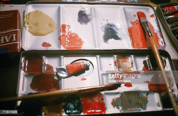 The pallete the Beatles used for their only combined piece of artwork 'Images of a Woman' painted at the Tokyo Hilton Japan during their tour of Asia...