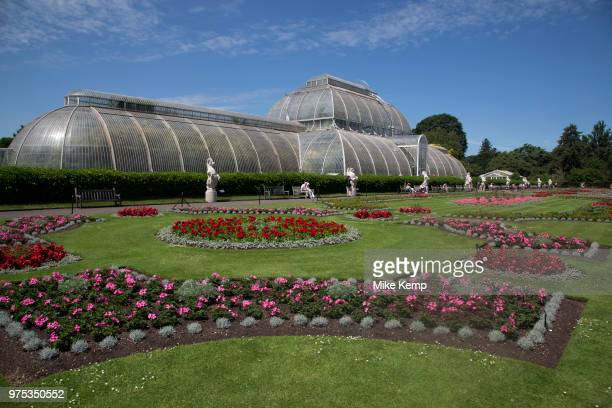 The Palm House at Kew Gardens in London United Kingdom The Royal Botanic Gardens Kew usually referred to simply as Kew Gardens are 121 hectares of...