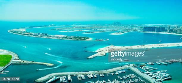 The Palm Jumeirah from Dubai marina, United Arab Emirates