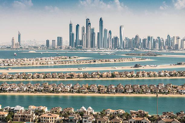 The Palm Jumeirah In Dubai With Skyline Wall Art