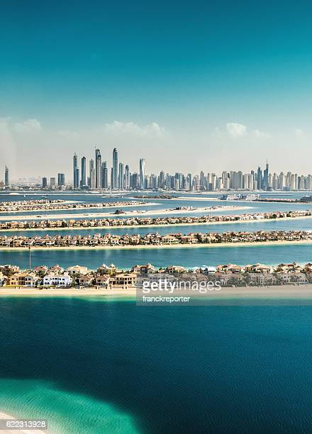 the palm jumeirah in dubai with skyline - jumeirah stock pictures, royalty-free photos & images