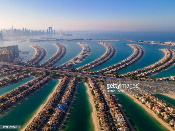 the palm jumeirah island in dubai uae aerial view - dubai stock pictures, royalty-free photos & images