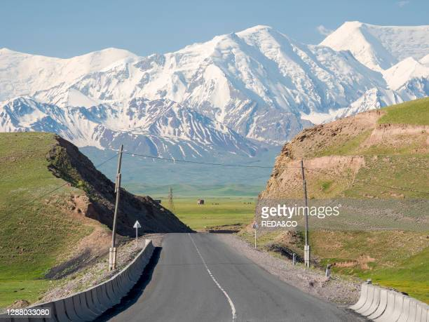 The Pamir Highway in Alaj valley in the Pamir mountian range. Asia. Central Asia. Kyrgyzstan.