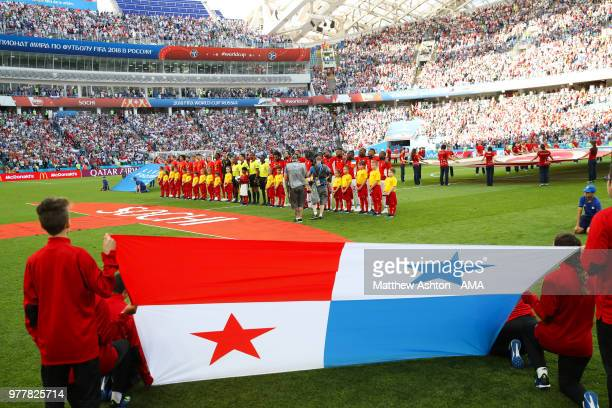 The Panama flag bearers look on as the players line up prior to the 2018 FIFA World Cup Russia group G match between Belgium and Panama at Fisht...