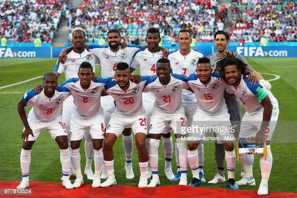 The Panama players line up for a team photo prior to the 2018 FIFA World Cup Russia group G match between Belgium and Panama at Fisht Stadium on June...