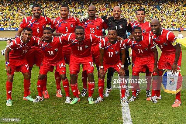 The Panama team pose for a team photo during the International Friendly Match between Brazil and Panama at Serra Dourada Stadium on June 03 2014 in...