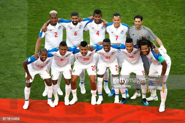 The Panama team pose for a team photo prior to the 2018 FIFA World Cup Russia group G match between Belgium and Panama at Fisht Stadium on June 18...