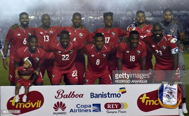 The Panamanian national team poses for pictures before the start of their international friendly football match against Northern Ireland at the...