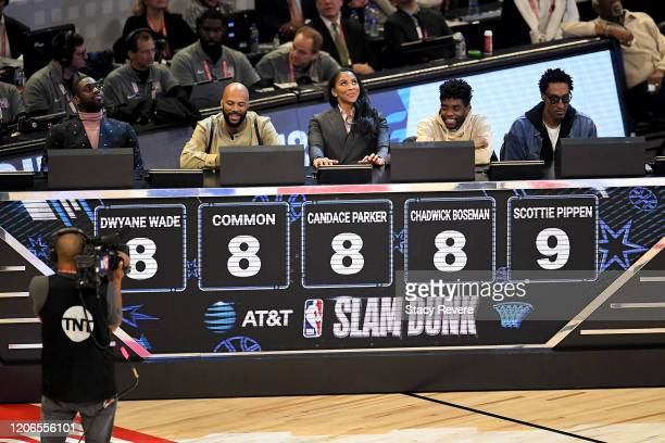The panel of Dwyane Wade Common Candace Parker Chadwick Boseman and Scottie Pippen reveal their scores for a dunk by Dwight Howard of the Los Angeles...