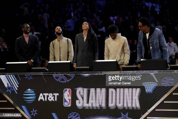 The panel of Dwyane Wade, Common, Candace Parker, Chadwick Boseman, and Scottie Pippen look on in the 2020 NBA All-Star - AT&T Slam Dunk Contest...