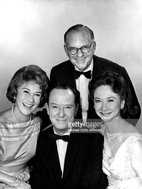 The panel of judges along with the host of What's My Line Arlene Francis John Charles Daly Dorothy Kilgallen and Bennett Cerf pose for a portrait...