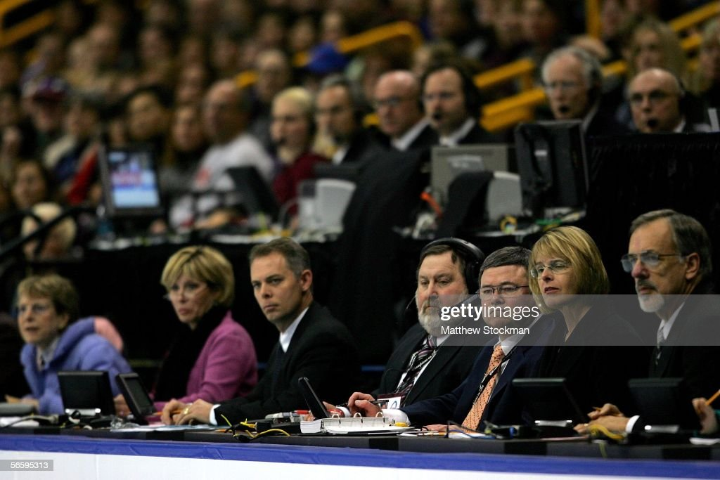 The panel of judges are shown as they watch the competition in the Women's Free program the 2006 State Farm U.S. Figure Championships at the Savvis Center on January 14, 2006 in St. Louis, Missouri.