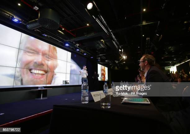 The panel of judges watching former Impact Challenge judge and ongoing supporter Sir Richard Branson making an appearance on screen via Google...