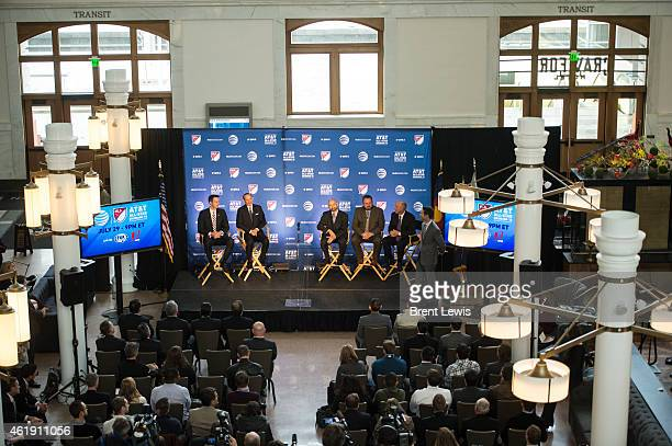 The panel of speakers for the press conference including Josh Kroenke Don Graber Joseph Garcia Sean Ford and Richard Scharf discuss the decision to...