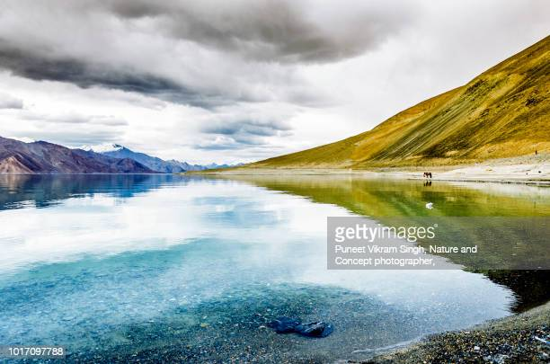 The Pangong Lake of Ladakh during an overcast day