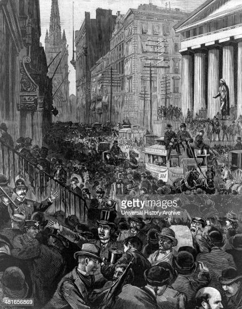 The panic of investors and stockbrokers in Wall Street Wednesday morning May 14 1884