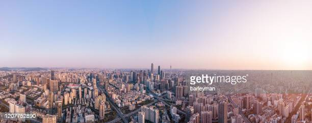 the panorama of skyline guangzhou - 夜明け ストックフォトと画像