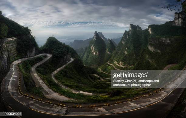 the panorama of zhangjiajie tiammenshan national park - hunan province stock pictures, royalty-free photos & images